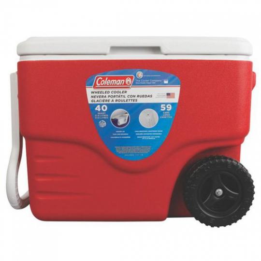 Caixa térmica coleman 40 qt c- rodas vermelho