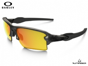ÓCULOS OAKLEY FLAK 2.0 XL GREY SMOKE - FIRE IRIDIUM