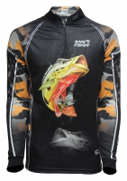 Camiseta rkf action hard fish 50 uv tucunaré açu