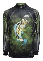 Camiseta rkf action fish 50 uv tam. p tucunaré azul