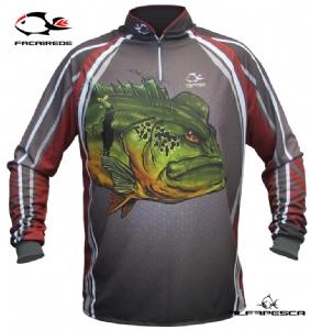 Camisa para pesca com proteção solar faca na rede tucunaré